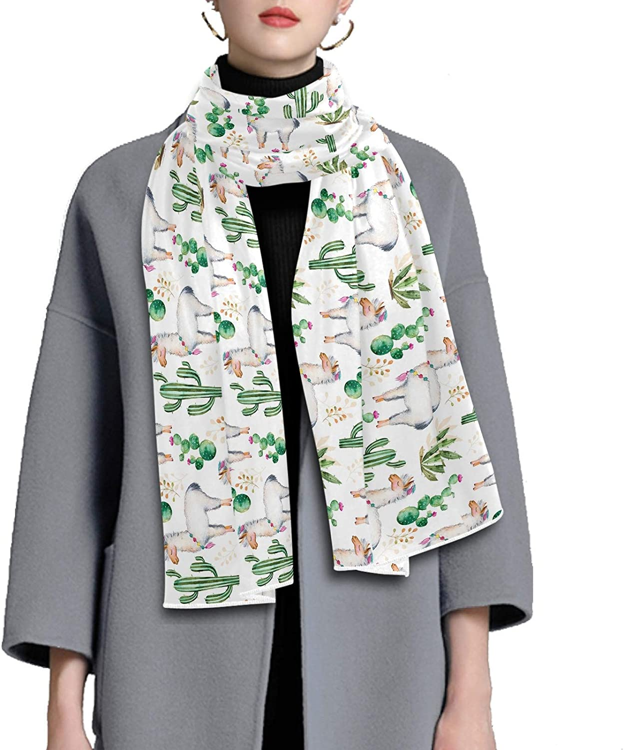 Scarf for Women and Men Watercolor Cactus Llama Alpaca Blanket Shawl Scarf wraps Warm soft Winter Oversized Scarves Lightweight