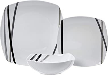 Amazon Basics 18-Piece Square Kitchen Dinnerware Set, Plates, Bowls, Service for 6, Modern Beams
