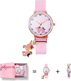 imuto Unicorn Watch Girls Watch Pink Nylon Band Analog Wrist Watch Unicorn Gifts