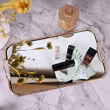 GREEHOMEDE Decorative Tray with Handle, Gold Mirror Tray, Vanity Tray Jewelry Perfume Organizer Makeup Tray, Mirror Tray for