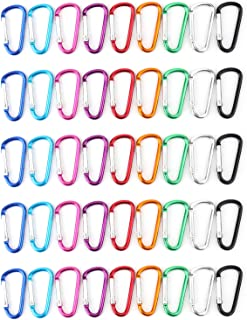 Faswin 45 Pack 2 inch Carabeaner Multicolor D Shape Buckle Pack - Aluminum Carabiner for Home, Rv, Outdoor, Camping, Fishing, Hiking, Traveling and Keychain