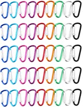 Faswin 45 Pack 2 inch Carabeaner Multicolor D Shape Buckle Pack - Aluminum Carabiner for Home, Rv, Outdoor, Camping, Fishi...