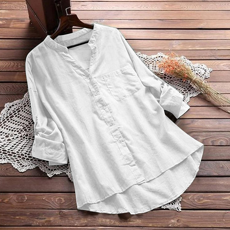 Aukbays Womens V Neck Shirts Button Down Cotton Linen 3/4 Cuffed Sleeve Causal Loose Blouse Side Split Plain Tops Summer