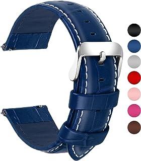 d7e8487952 Fullmosa 18mm 20mm 22mm 24mm Bracelet Montre Cuir Véritable, 7 Couleurs  Bamboo Bracelet de Montre