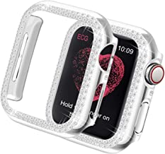 Yolovie Compatible for Apple Watch Case 38mm 40mm 42mm 44mm Bling Face Cover Crystal Diamonds Shiny Rhinestone Bumper, PC Plated Hard Protective Frame for iWatch Series 5 4 3 2 1 Women Girls