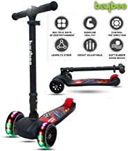 Baybee SPEEDFORCE 3 Wheel Folding Kick Kids Scooty Scooter Tricycle for Indoor & Outdoor Fun with Brake-LED Skate Scooter for Kids with Adjustable Height Age 3-14 Years-Capacity 100 kg-Multi-Color