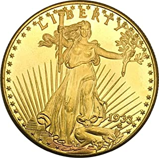 Huyenkute United States of America 1933 Twenty Dollars Saint Gaudens Double Eagle Motto in God We Trust Gold Coin Brass Metal Copy Coins