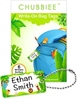 Child ID Bag Tags, Write-On Kids Name Tags for Backpack, Lunchbox & Diaper Bag, Great for Preschool & Daycare, Pack of 6