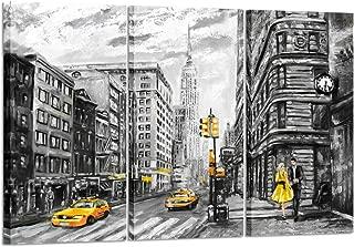 Kreative Arts - Modern New York City Canvas Print Black and White USA Street Painting Empire State Building Wall Art Modern Giclee Artwork Ready to Hang 16x32inchx3pcs