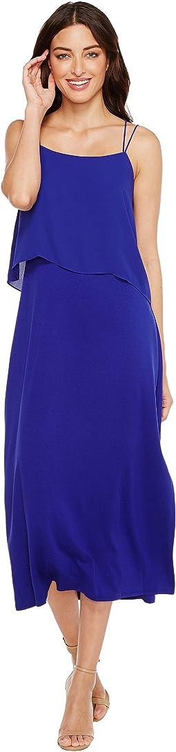Asymmetrical Woven Overlay Maxi Tank Dress