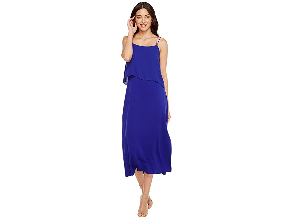 Vince Camuto Asymmetrical Woven Overlay Maxi Tank Dress (Nile Blue) Women