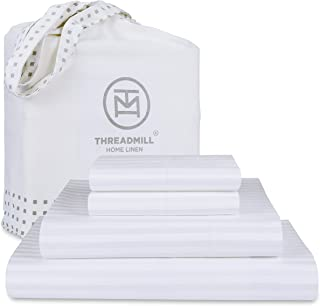 Threadmill California-King Sheets - 100% Natural Cotton 600 Thread Count, 4 Piece Stripe Damask Hotel White Bed Set, Luxur...