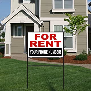 BuildASign for Rent Aluminum Yard Sign with 18x24 Metal Frame - Customizable Phone Number!