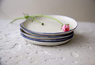 Modern pottery white porcelain small plate with a blue rim for a serving of salad, dessert, cheese or fruits by SinD studio (1 plate)