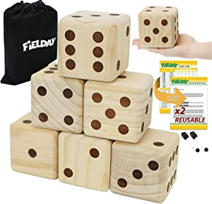 JOYIN Giant Wood Yard Dice 3.5 inch Large Dice Game Set with 6 Wooden Dice, 2 Double Sided Score Sheets, Dry Erase Marker, and a Durable Storage Bag, Good Yard Games for Kids and Adults