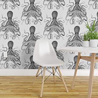 Peel-and-Stick Removable Wallpaper - Jellyfish Anthropologie Octopus Shower Sparrowsong Willowlane by Willowlanetextiles - 12in x 24in Woven Textured Peel-and-Stick Removable Wallpaper Test Swatch