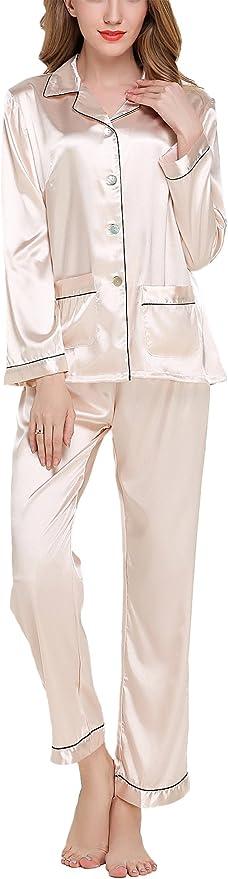 11 opinioni per Asskyus Pigiama da Donna Top e Pantaloni Set di Raso, Pantaloni a Maniche Lunghe