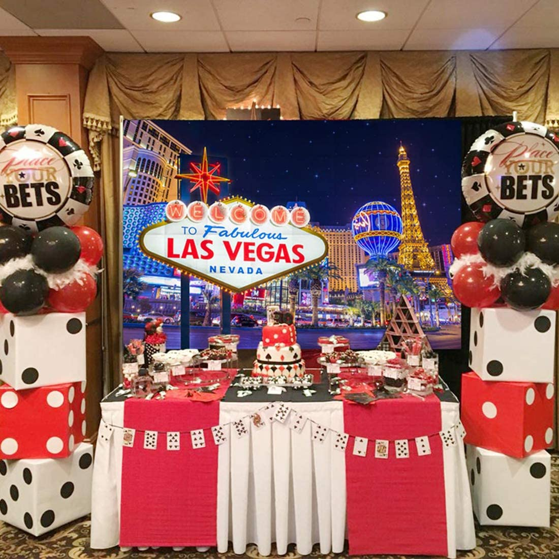Allenjoy 8x8ft Las Vegas Night Backdrop Decorations Fabulous Casino Poker Movie Themed Vintage Costume Dress-up Birthday Prom Ceremony Supplies Favors Decor Banner Props Photography Studio Background
