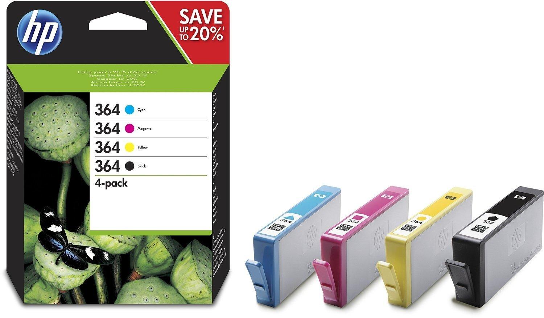 HP 364 Ink Cartridge Combo Content Pack - Cartucho de tinta para impresoras (Negro, Cian, Magenta, Amarillo, 300 páginas, Photosmart 5520 e-AiO, Photosmart 5525 e-AiO, Photosmart 6520 e-AiO, Photosmart 7520 e-AiO): Amazon.es: