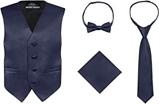 S.H. Churchill & Co. Boy's 4 Piece Vest Set, with Bow Tie, Neck Tie & Pocket Hankie