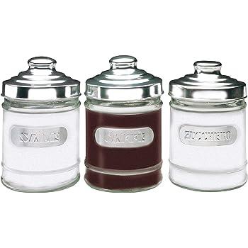 Set 4 barattoli  vetro trasparente coperchio alluminio sale zucchero caffè tè