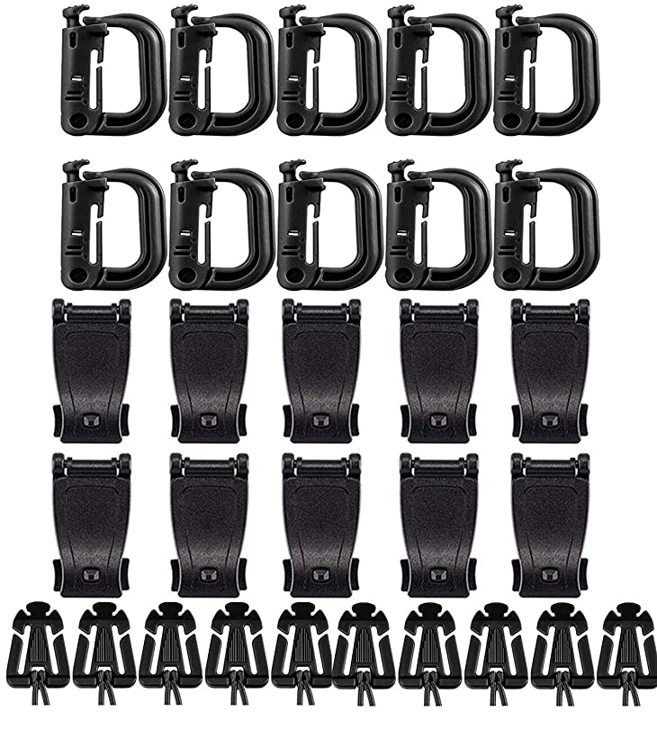価格入浴散逸ウェブドミネーター Dリング ウェビングクリップ MOLLE対応 各10個セット プラスチック 黒 高強度超軽量 カラビナ グリムロック ウェイビング モールシステムパーツ バックル PALSウェビング対応 バックパック用 アウトドア用(30個セット)