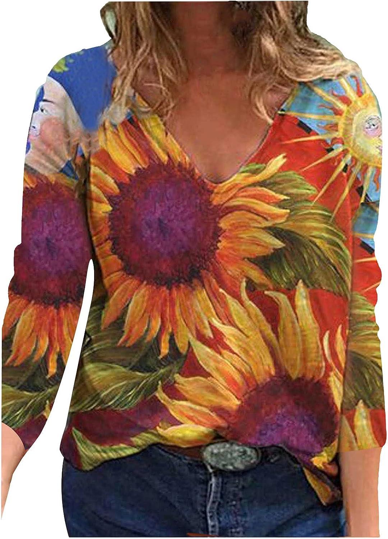 Womens Tops Floral Print Pattern Long Sleeve V-Neck Novely Popular Pullover Autumn Comfy Soft Base Sweatshirt