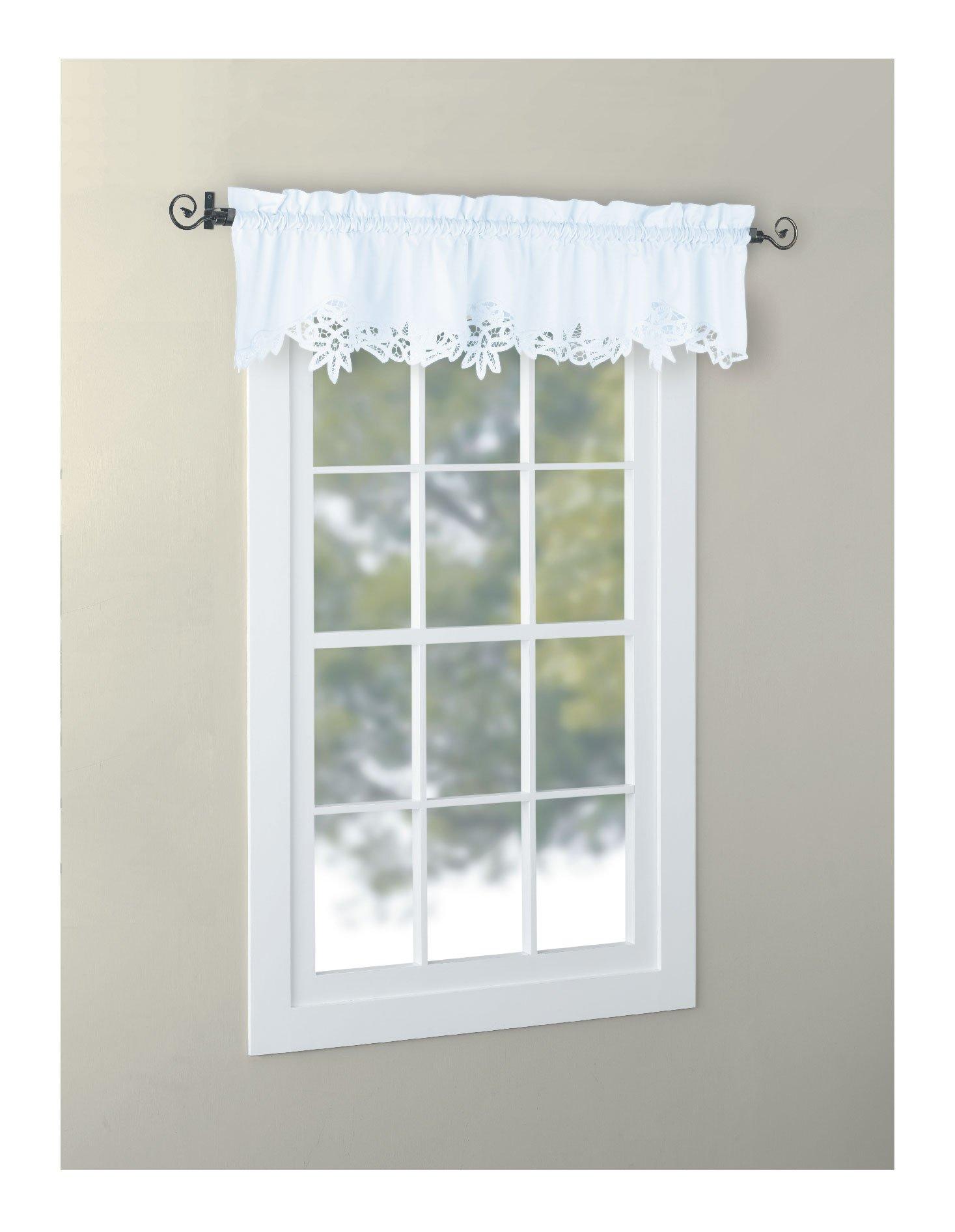 Amazon Com Huierlai Battenburg Lace Kitchen Curtain Valance Swags Tiers White 14 L Home