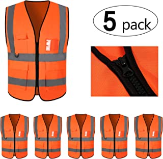 Mount Marter Safety Vest Reflective for women and men,  5 Pack Orange safety vest with 5 Pockets and zipper,  highvisibilityvest with 360° reflective strips for traffic,  surveyor,  construction, XL