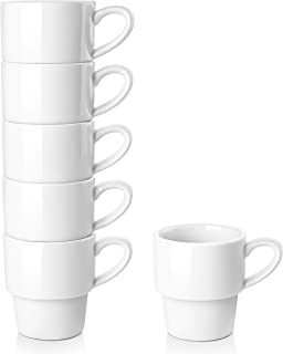LIFVER Porcelain Espresso Cups, 3.5 Ounce Demitasse Cups, Stackable Espresso Coffee Cup, Set of 6, White