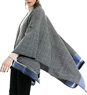 Armfre Tops Women's Plaid Sweater Poncho Cape Coat Open Front Cardigans Color Block Knitted Blanket Oversized Wrap Shawl Winter Warm Outerwear
