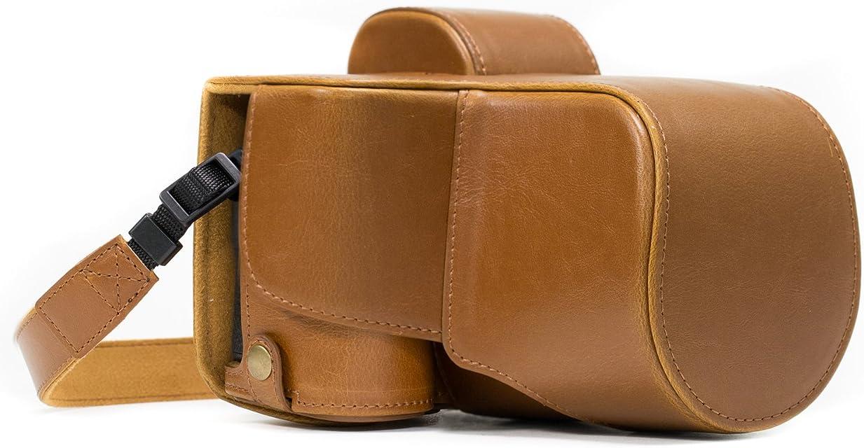 MegaGear Estuche Ever Ready Funda de Pronto Uso de Cuero con Correa Compatible con Sony Alpha A7S II A7R II A7 II (28-70mm)