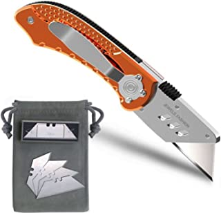 Folding Utility Knife Set – Includes 5 Replacement Utility Blades - Plastic Cover for Sharp Edge - Ideal for Cardboard, Rope, Carpet, Linoleum, Plastic, Leather, Wallpaper Etc.