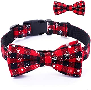 Umisun Pet Basic Collar with Detachable Bow Tie-Christmas Snow Pattern Cotton Collar Charm Necklace Outfits Accessories fo...