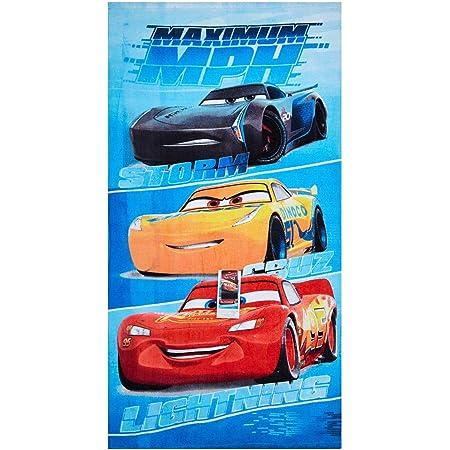 Toalla de playa de Disney Cars Maximum MPH, toalla de baño, toalla de 70 x 140 cm con Storm, Cruz y Lightning McQueen de algodón 100%, para niños