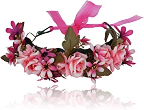 Women Bezel Flower Crown Bridal Floral Headband Wreath Spring Girls Wedding Hair Accessories Bridesmaid Tiara,07H