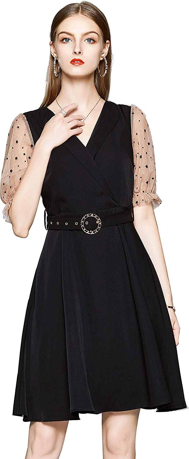 Women's Vintage Collared Neck/V Neck Business Casual A line Midi Dress