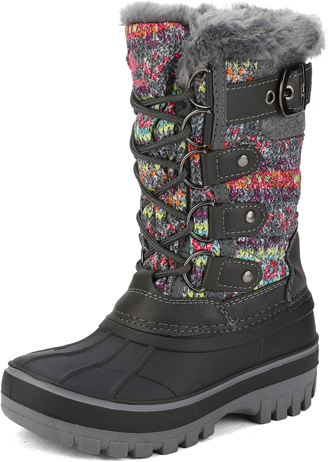 DREAM PAIRS Kids Insulated Waterproof Warm Winter Snow Boots Grey Multi Size Size 4 Big Kid