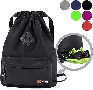 WANDF Drawstring Backpack String Bag Sackpack Cinch Water Resistant Nylon for Gym Shopping Sport Yoga