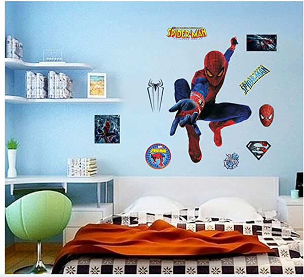 DIY Removable Spiderman 3D Art Boy Room Wall Sticker Home Decal Peel And Stick Wall Decal For Kids Room Wall Decor