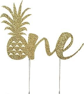 CMS Design Studio Handmade 1st Birthday Cake Topper Decoration - Pineapple One - Double Sided Gold Glitter Stock