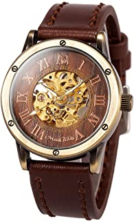 Mens Wrist Watch Fashion Leather Band Special Burlywood dial Automatic Mechanical Wrist Watch for Men + Gift Box