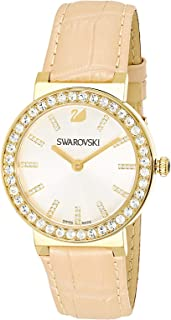 Swarovski Watch For Women Octes Dressy Black Leather, 5182266, Gold Band, Analog Display