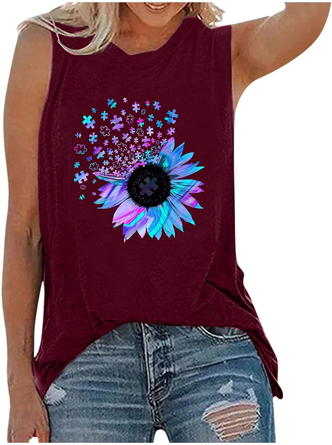felwors Womens Summer Tops, Cute Summer Tank Tops for Women Casual Graphic Tank Tops Loose Fit Sleeveless Tops Shirts