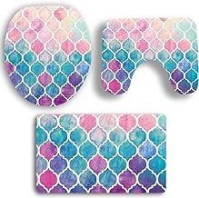 OVERMAL Print Bathroom Rug Set Lid Toilet Cover Non-Slip Pedestal Rug Bath Mat Set(3 Pcs) (Pink)