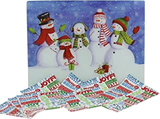 Holiday Christmas Glass Cutting Board: Decorative Winter Snowmen Design with 24 Matching Paper Napkins: