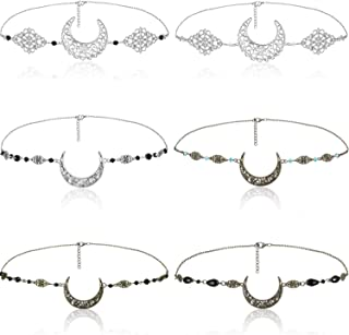6 Pieces Boho Head Chain Crescent Vintage Crescent Moon Head Chain Vintage Moon Pendant Hair Jewelry Hair Band Festival Prom Wedding Headpiece for Women and Girls