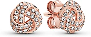 Jewelry - Shimmering Knot Stud Earrings in Pandora Rose with Clear Cubic Zirconia