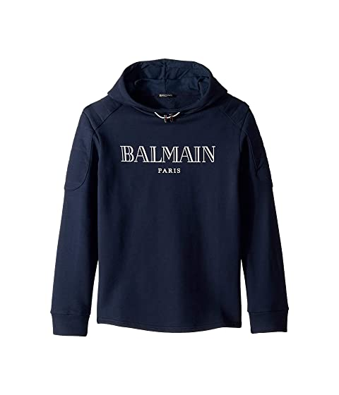Balmain Kids Long Sleeve Logo Hoodie (Big Kids)