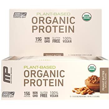 MusclePharm Organic Plant-Based Protein Bar, 15g Protein, Peanut Butter Bars, 12 Count
